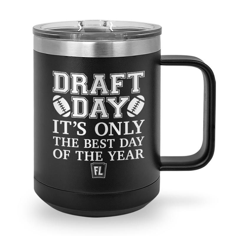 Buy Coffee Mug with printed text saying Draft Day. Get 15% off with code Yahoo15FL