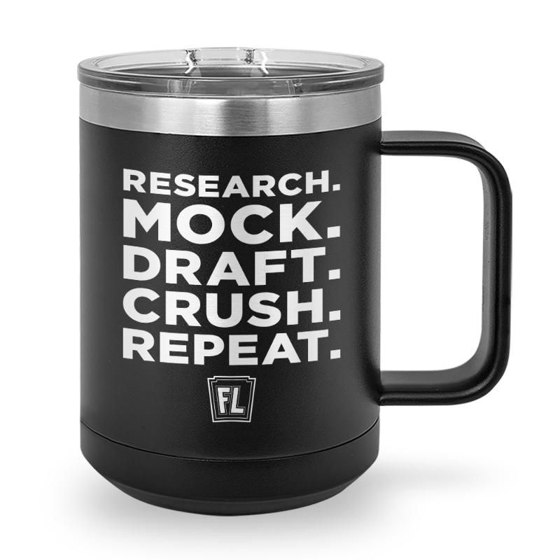 Buy Coffee Mug with printed text saying Research. Mock. Draft. Crush. Repeat. Get 15% off with code Yahoo15FL