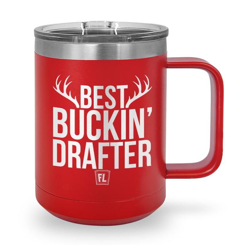 Buy Coffee Mug with printed text saying Best Buckin' Drafter. Get 15% off with code Yahoo15FL
