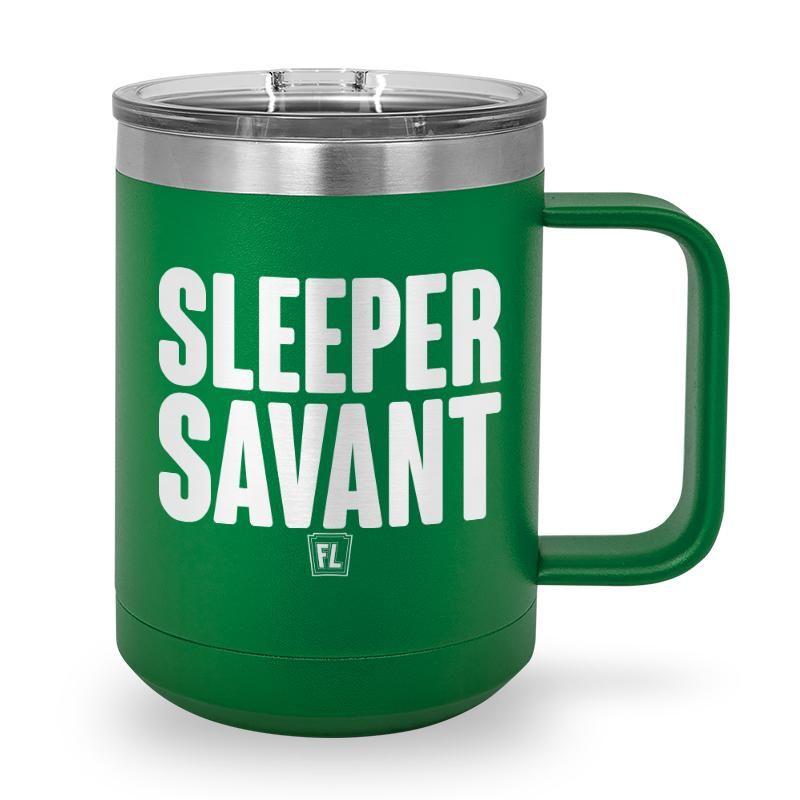 Buy Coffee Mug with printed text saying Sleeper Savant. Get 15% off with code Yahoo15FL