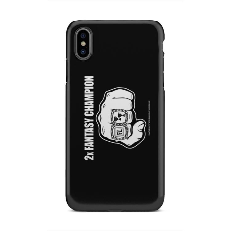 Buy Phone Case with printed text saying 2x Fantasy Champion. Get 15% off with code Yahoo15FL