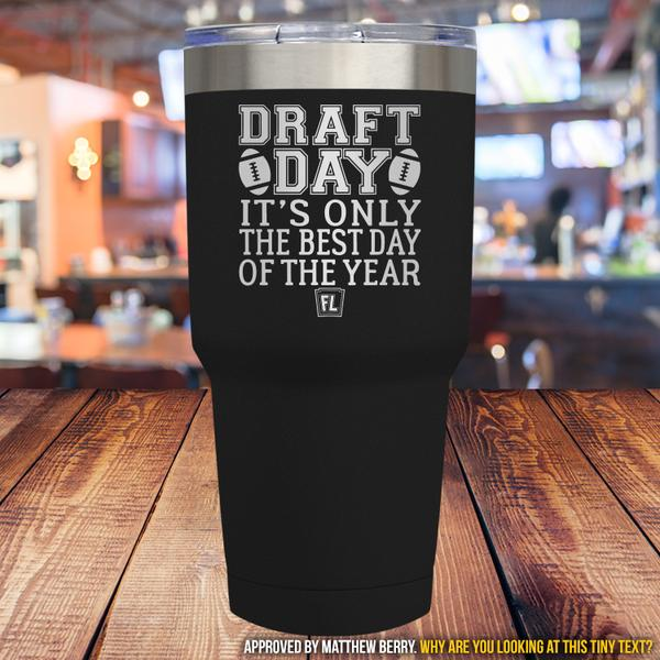 Buy Tumbler with printed text saying Draft Day. Get 15% off with code Yahoo15FL