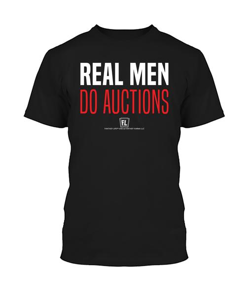 Buy T-shirt with printed text saying Real Men Do Auctions. Get 15% off with code Yahoo15FL