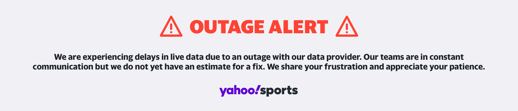 We are experiencing delays in live data due to an outage with our data provider. Our teams are in constant communication but we do not yet have an estimate for a fix.  We share your frustration and appreciate your patience.