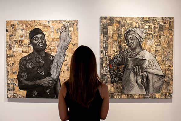 """: A general view of work by artist Emma Odumade on display during the """"The Medium Is The Message"""" exhibition at Unit London Gallery on October 05, 2020 in London, England. The exhibition is apart for UK Black History Month. (Photo by John Phillips/Getty Images)"""