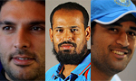 Yuvraj Singh, Yusuf Pathan and MS Dhoni