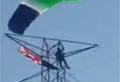 Skydiver falls to ground after hitting power lines