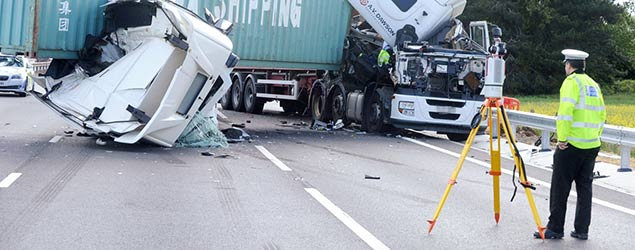 A14 lorry crash
