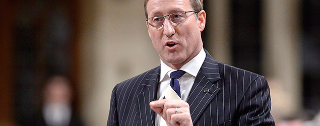 Justice Minister Peter Mackay rises during Question Period in the House of Commons on Parliament Hill in Ottawa, Thursday, April 30, 2015 . THE CANADIAN PRESS/Adrian Wyld