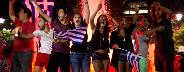 Greeks celebrate the No vote (PA)
