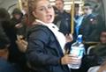 WATCH: Woman soaks train passengers over loud music