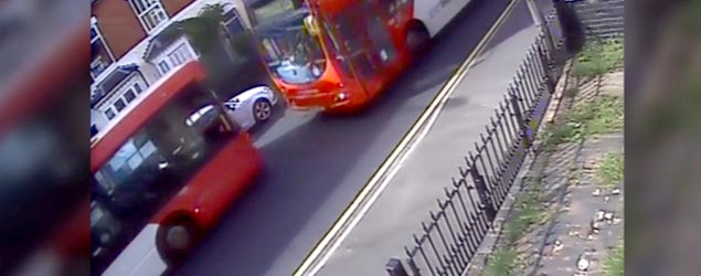 Watch two UK buses colliding head-on (SWNS)