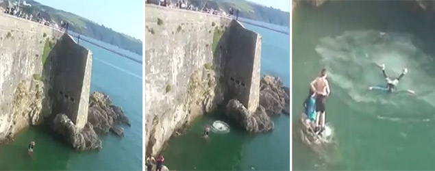 Tombstoner plays dead after 40ft cliff jump