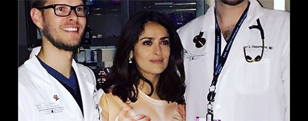 Salma Hayek had to go to hospital in a rude T-shirt