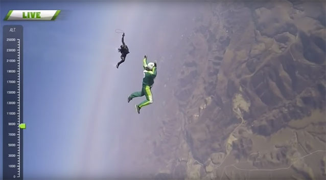 Skydiver leaps from plane - with no parachute