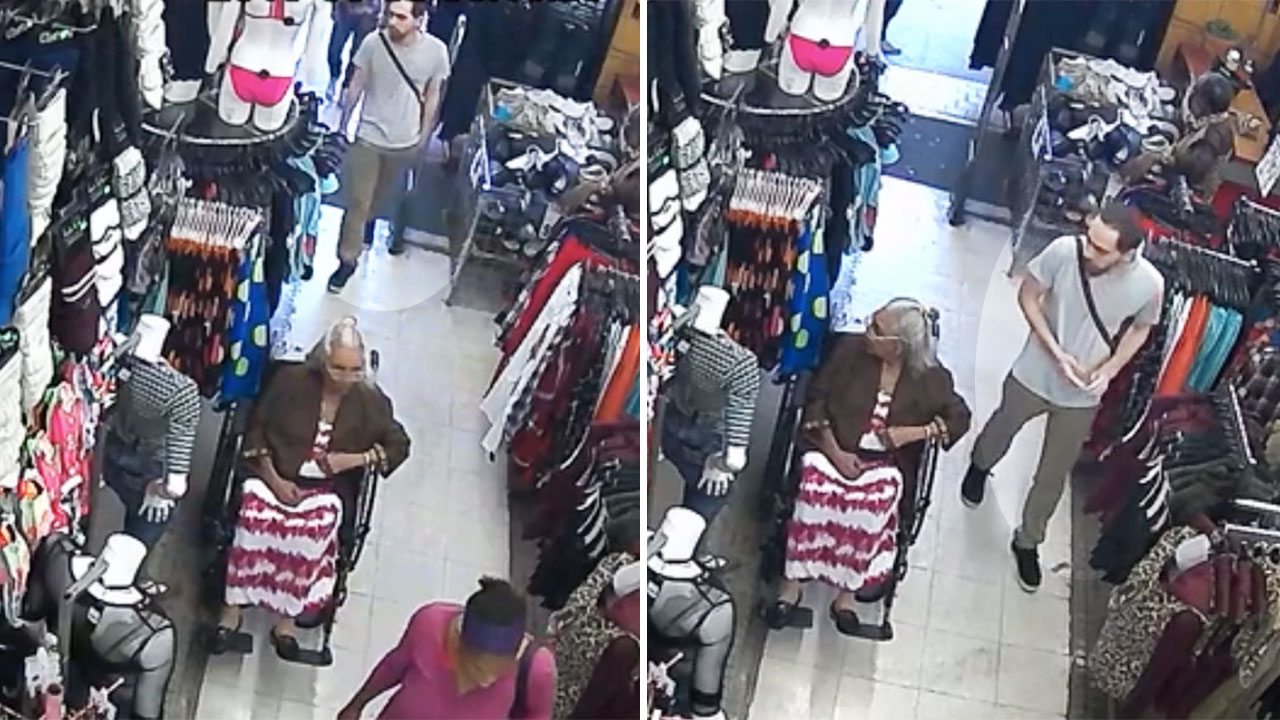 Man caught on camera stealing money from 93-year-old woman's cleavage