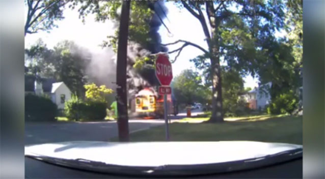 20 children safely evacuated from burning school bus