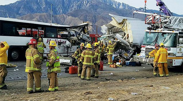 Calif. crash of tour bus, semi-truck kills 13, injures 31 others