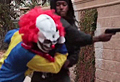 WATCH: Creepy clown pistol-whipped by 'victim'