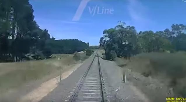 Motor bike riders cheat death, dodging V/Line train