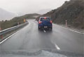 WATCH: Foreign driver's close call after weaving across South Island mountainside