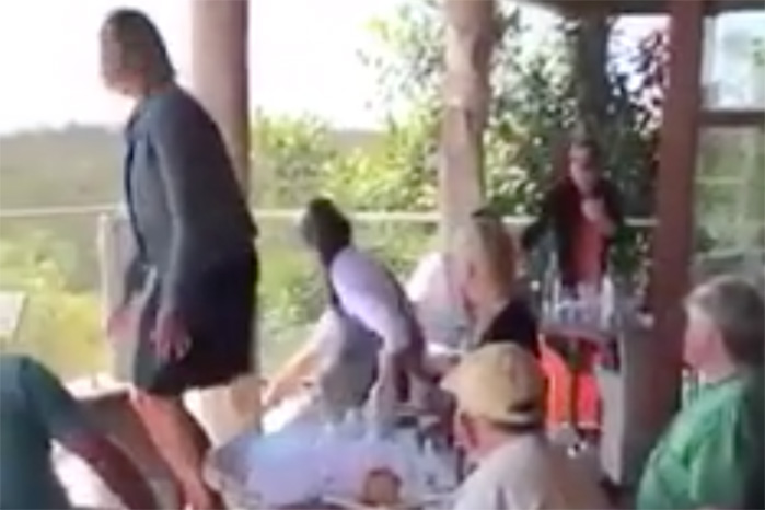 French waitress drags goanna from Mimosa Winery's restaurant
