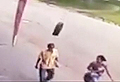 Unlucky pedestrian knocked out by runaway tyre