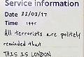 Fake tube sign captures London's defiant spirit