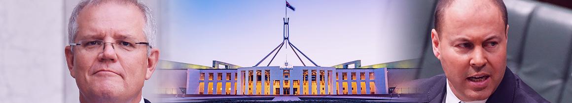 Image of Scott Morrison, Josh Frydenberg and Parliament house.