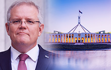 Image of Scott Morrison and Parliament house.