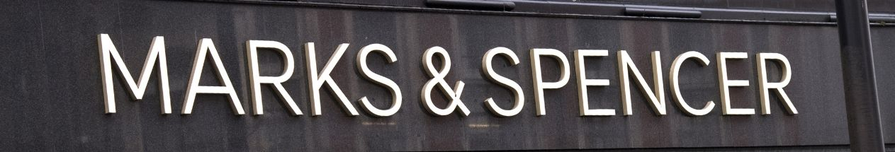 A view of a Marks & Spencer sign on the front of one of their high street branches.