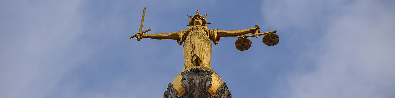 A picture of the scales of justice outside the Old Bailey.  (PA)