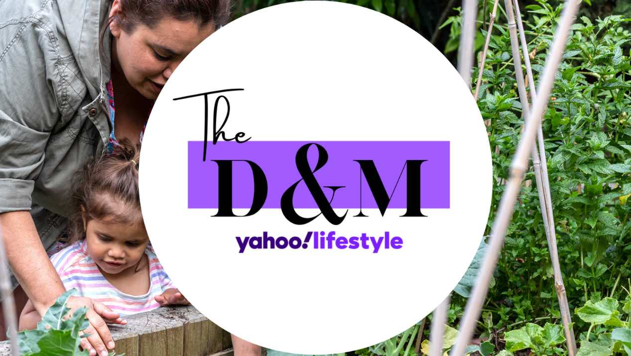 Woman and child working in garden with The D&M logo over the top