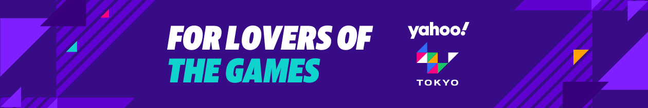 """A purple banner with contrasting triangles around the text, """"For lovers of the Games,"""" around a Yahoo and Tokyo logo."""