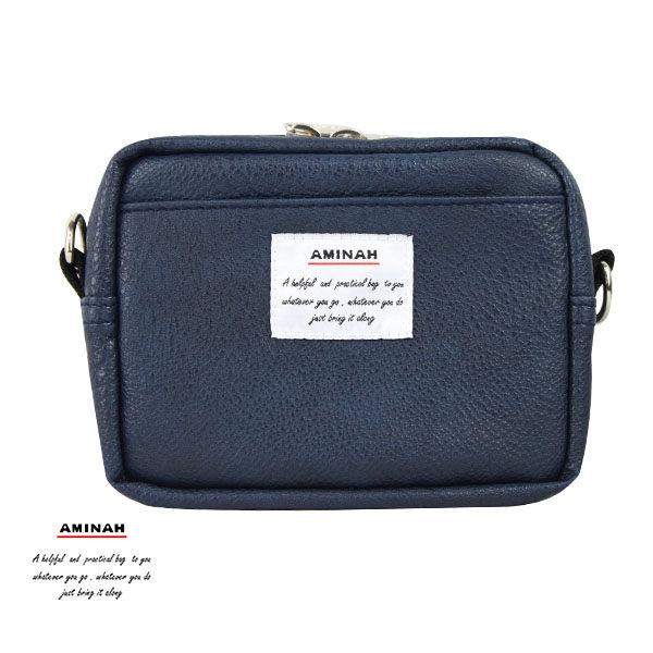 藍色皮革兩用隨身小包小腰包肩背包AMINAH~am-0266