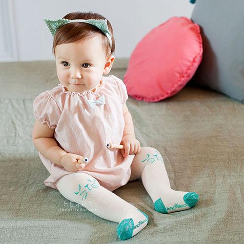 柔軟超彈力簡約棉質白色小貓包腳褲襪 童襪 長襪 長褲 止滑襪 防滑襪 內搭褲