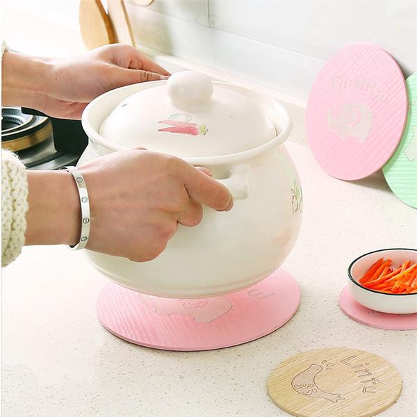 可愛卡通茶杯墊木質杯子隔熱墊廚房防燙防滑碗墊杯墊餐桌墊墊子(大號)─預購CH1490