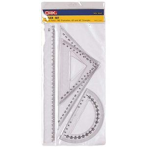 奇奇文具三燕COX三角板組三燕COX 460塑膠尺組三角尺量角器三角板直尺半圓