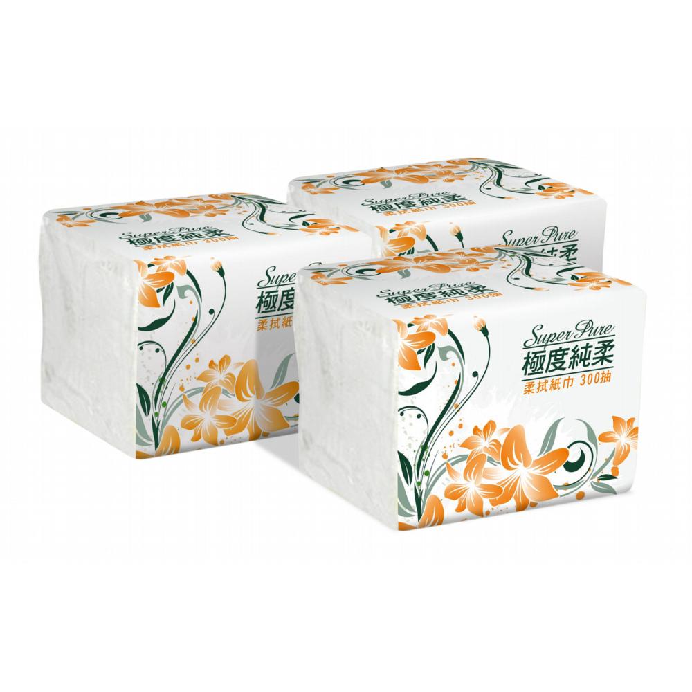 三箱省省省!!Superpure極度純柔單抽式柔拭紙巾300抽*30包/箱