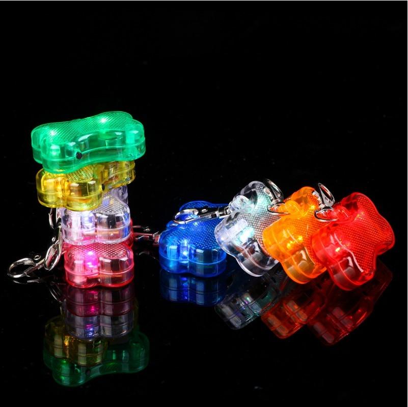 巴黎彩虹LED骨頭造型發光墜飾寵物飾品防走失青蛙燈氣氛燈糖果燈露營燈戶外安全
