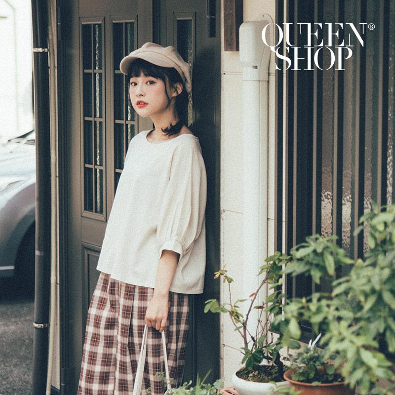 Queen Shop【01096289】素面棉麻圓領上衣 兩色售*現+預*