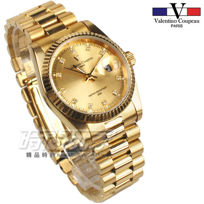 valentino coupeau 范倫鐵諾 都會風格鑽錶 不鏽鋼 鑽時刻 防水手錶 男錶 金色 石英錶 V12169VKG