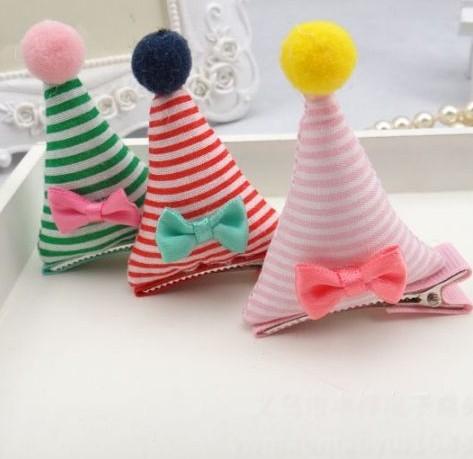 [Mini style] 兒童 髮夾 新款 毛球 條紋 帽子 韓 夾子 髮飾 頭飾 可愛 造型 時尚 流行 熱款 超萌 夢幻