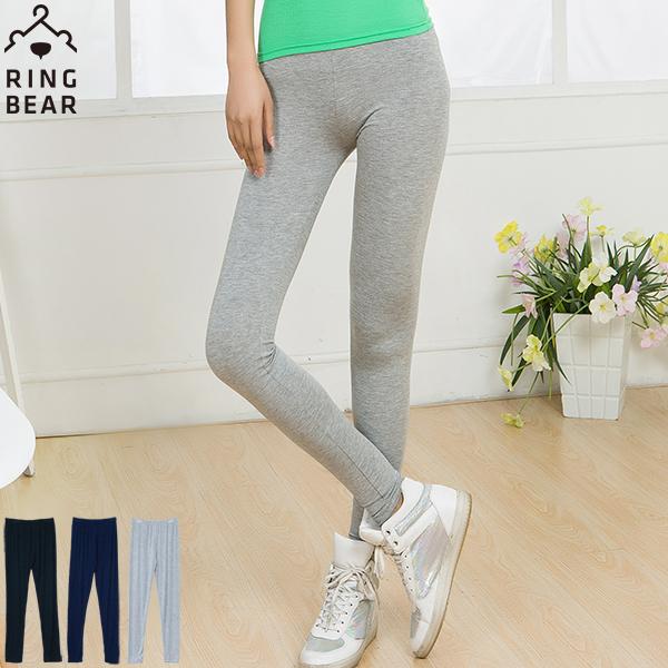 內搭褲--零著輕盈修身素面超高彈力鬆緊腰頭棉質九分內搭褲(黑.灰.藍XL-3L)-P126眼圈熊中大尺碼