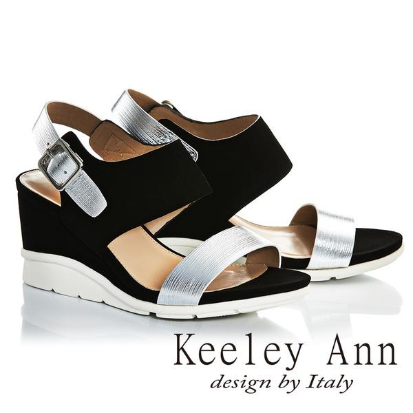 2017春夏Keeley Ann韓式風潮~金屬質感真皮楔形高跟涼鞋黑色-Ann系列