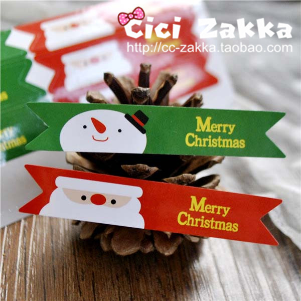 12入  紅綠聖誕雪人【X004】 禮品貼紙 封口貼紙 裝飾貼