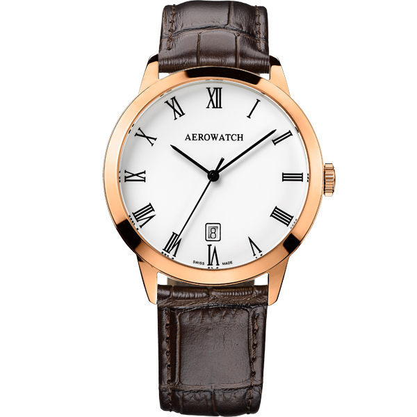 AEROWATCH 羅馬雅仕經典時尚腕錶-玫瑰金框x咖啡/40mm A42972RO01