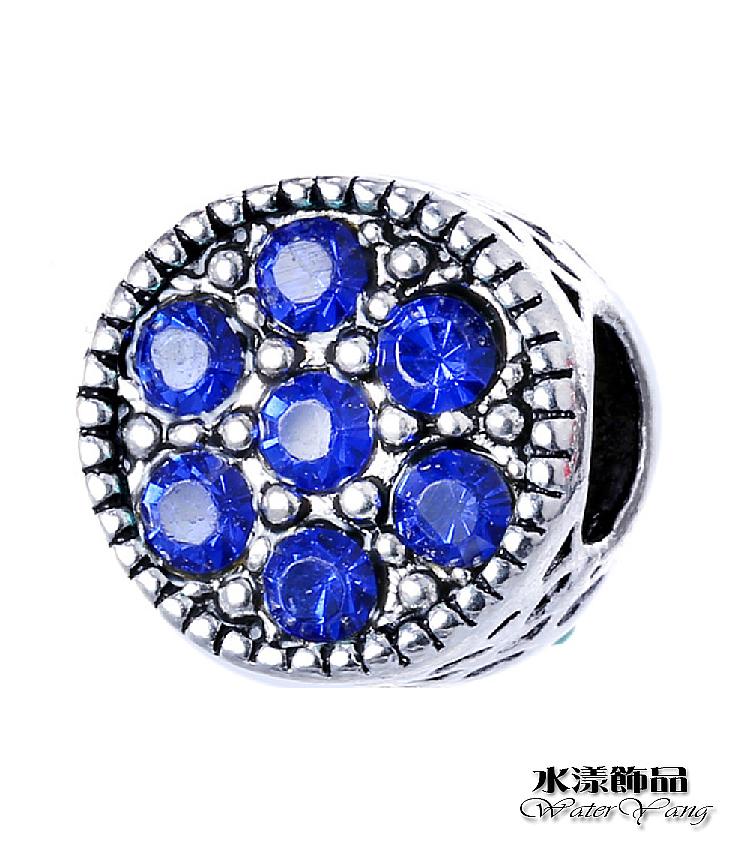 藍色波點圓形大孔珠DIY墜子  DIY串珠配件