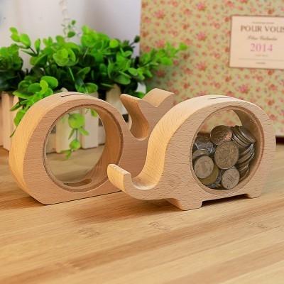MY COLOR可愛動物透明木質存錢罐韓國文具錢幣儲錢創意聖誕禮物生日原木存錢筒M23