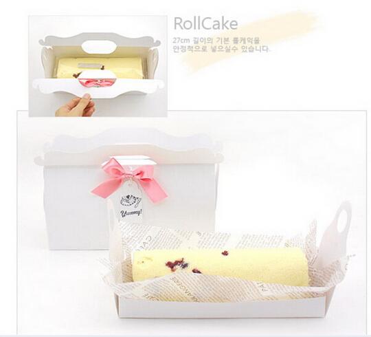 27cm白色生乳捲蛋糕盒彌月蛋糕盒蛋糕捲紙盒奶凍捲盒包裝盒禮品盒長條蜂蜜蛋糕盒附船盒